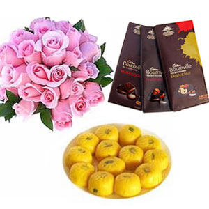 1/2kg kesar peda with 12 pink roses and 3 bournville