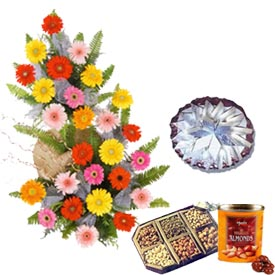 1 kg Dry fruits box of chocolates 1 kg Kaju katli 30 flowers