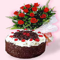 Black Forest Cake with 12 Lovely Dutch Roses