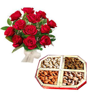 1/2 Kg Dry Fruits and 12 Roses Bouquet