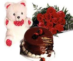 every day 6 inch teddy, 1/2 cake and 12 red roses