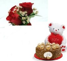 1/2 Kg Ferrero rocher Cake with 6 inch Teddy with 5 roses
