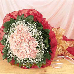 36 Pink carnations Hand bouquet