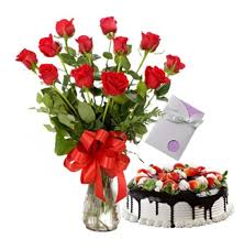 24 roses in a vase with 1 kilo cake and card