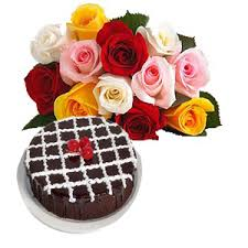 Half kg chocolate Cake 15 mix Roses