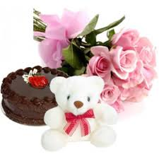 12 Pink roses basket, 1 kg cake and teddy
