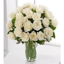36 White roses in glass vase