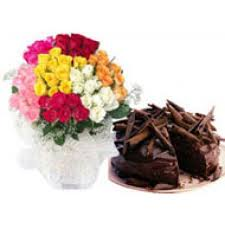 40 mix roses bunch 1/2 kg chocolate cake