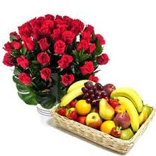 50 roses bunch and 3 kg fruit basket