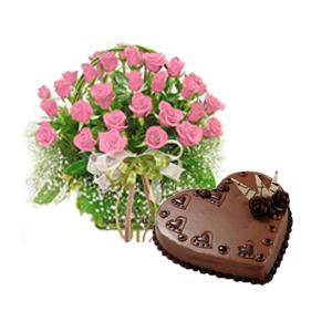 30 Pink Roses Basket 1 Kg Cake