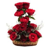 15 roses in a basket