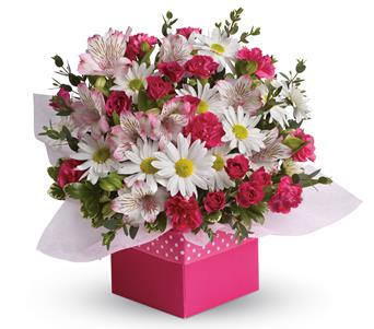 Flowers in a gift bag