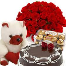 24 red roses, teddy, 1/2 kg cake,16 pieces chocolates