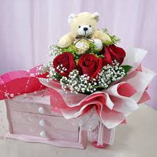 3 red roses with teddy bear 6 inch gift wrapped