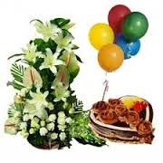 10 balloons lilies basket with 1 kg heart cake