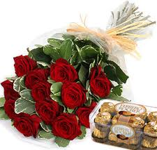6 red roses, 16 pieces chocolates