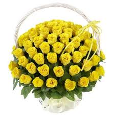 40 yellow roses in a basket