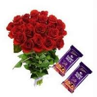 15 red roses in a bouquet with 2 silk chocolates