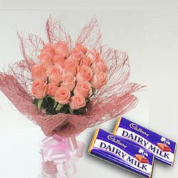 12 pink roses bouquet with 2 chocolates