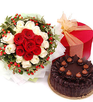 24 red & white roses bouquet ,1/2 kg chocolate cake