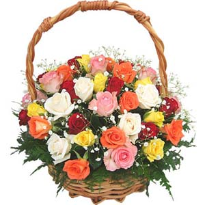 20 roses in a basket