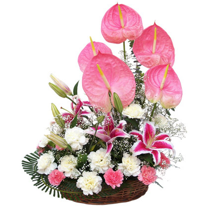 5 lilies, 15 gerberas, 5 other flowers in basket arrangement