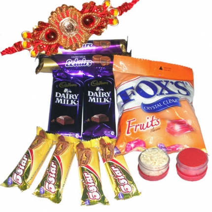 5 star+ cadbury milk chocolate+ foxs sweets+ ralhi roli chawal