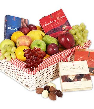 Fruits with chocolates and rakhi