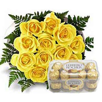 16 pieces Chocolate with 12 yellow roses