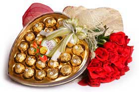 6 red roses bouquet Heart shaped chocolate box