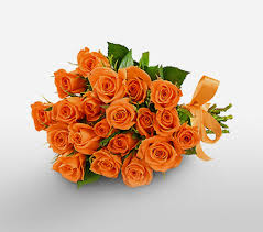 24 Orange roses in a bouquet