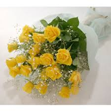 24 Yellow roses in a bouquet