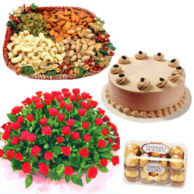 50 roses with 1 pound cake, chocolates and 1 kilo dry fruit