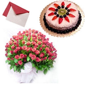 100 roses basket 1 pound cake and card