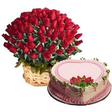 100 roses basket with 1 pound cake and greeting card