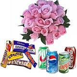 4 cans soft drinks with 20 roses and 10 chocolates