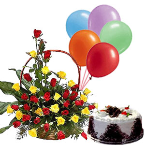40 Roses Basket 2 Pound Cake With 6 Blown Balloons