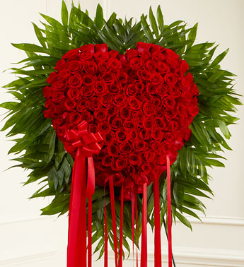 Heart with 50 roses