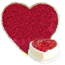 100 Heart shaped roses, 1 kg cake