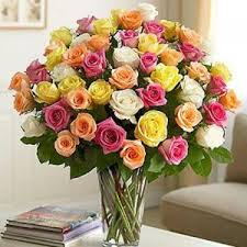 36 mix roses in a glass vase