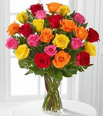 24 mix roses in a glass vase
