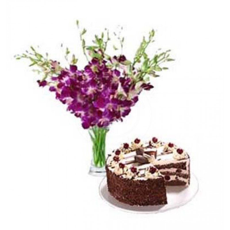 Orchids in a glass vase with 1 kg cake