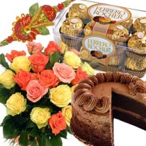 3 rakhis with 1/2 kg cake, 8 ferrero rocher and 12 roses bouquet