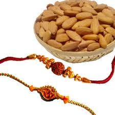 1/2 kg almonds with 2 rakhi