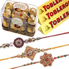 3 Tobler 100 gms each, 16 ferrero rocher and rakhi