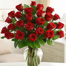 24 red roses in a glass vase