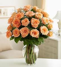 24 orange roses in a glass vase