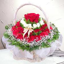 40 red and white roses basket