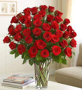 36 red roses in a glass vase