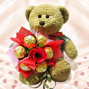 Chocolates bouquet with teddy